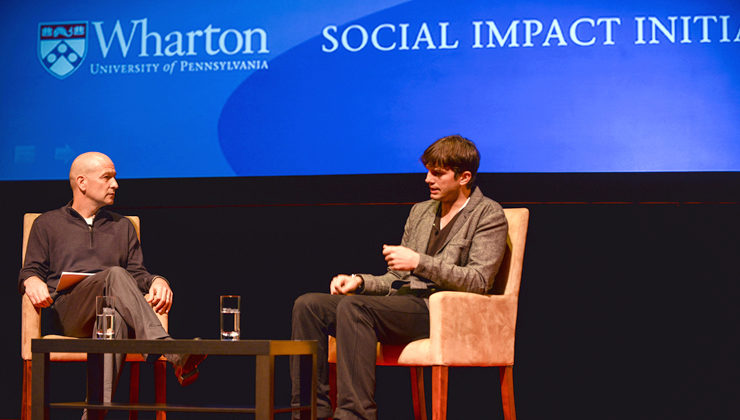 Bobby Turner, W'84, interviews actor and noted tech investor Ashton Kutcher during the Social Impact Executive Speaker Series on Oct. 7. 2013.
