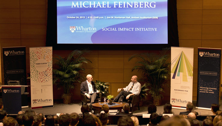 Michael Feinberg, a 1991 College grad, speaks with 1984 Wharton alumnus Bobby Turner, during the sixth Lauren & Bobby Turner Social Impact Executive Speaker Series in October.