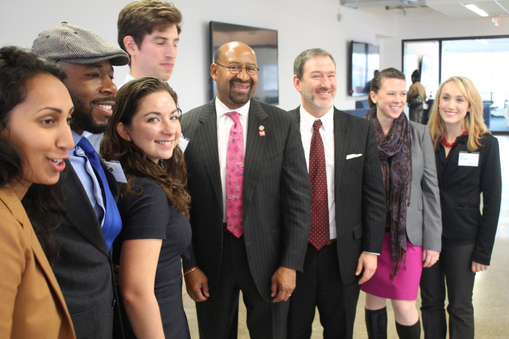 Members of Wharton Social Impact Initiative pose with Mayor Michael Nutter during FastFWD application launch on Oct. 30, 2013.