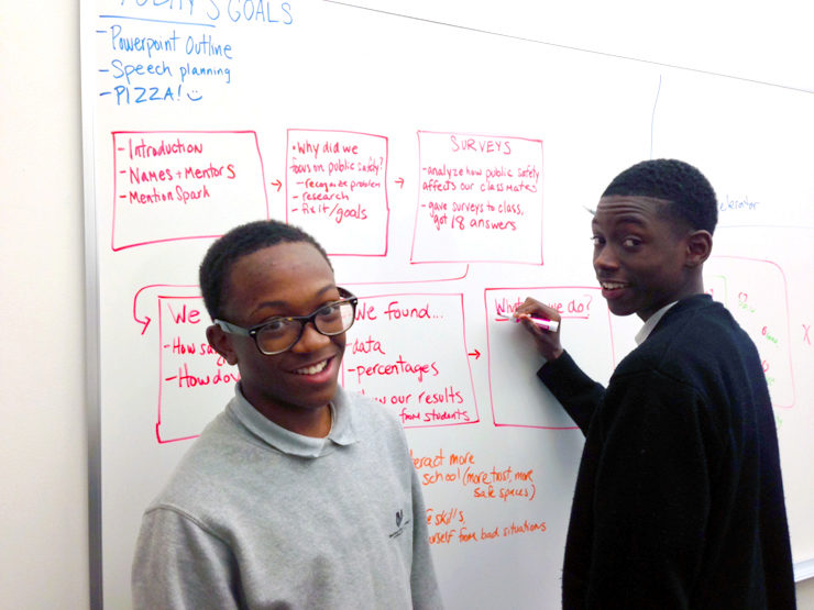Spark apprentices work on a project at the Wharton Social Impact Initiative  office.