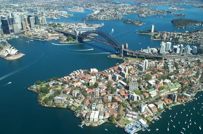 Sydney-Harbour,-Australia-aerial-view
