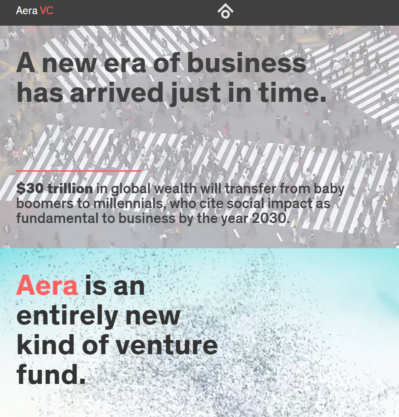 The website for Handley's latest project, Aera, launching during his residence at Wharton.