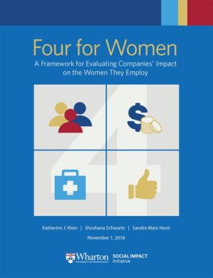 cover of four for women with blue background and the 4 infographic that includes quadrants with icons representing representation, pay, health, and satisfaction